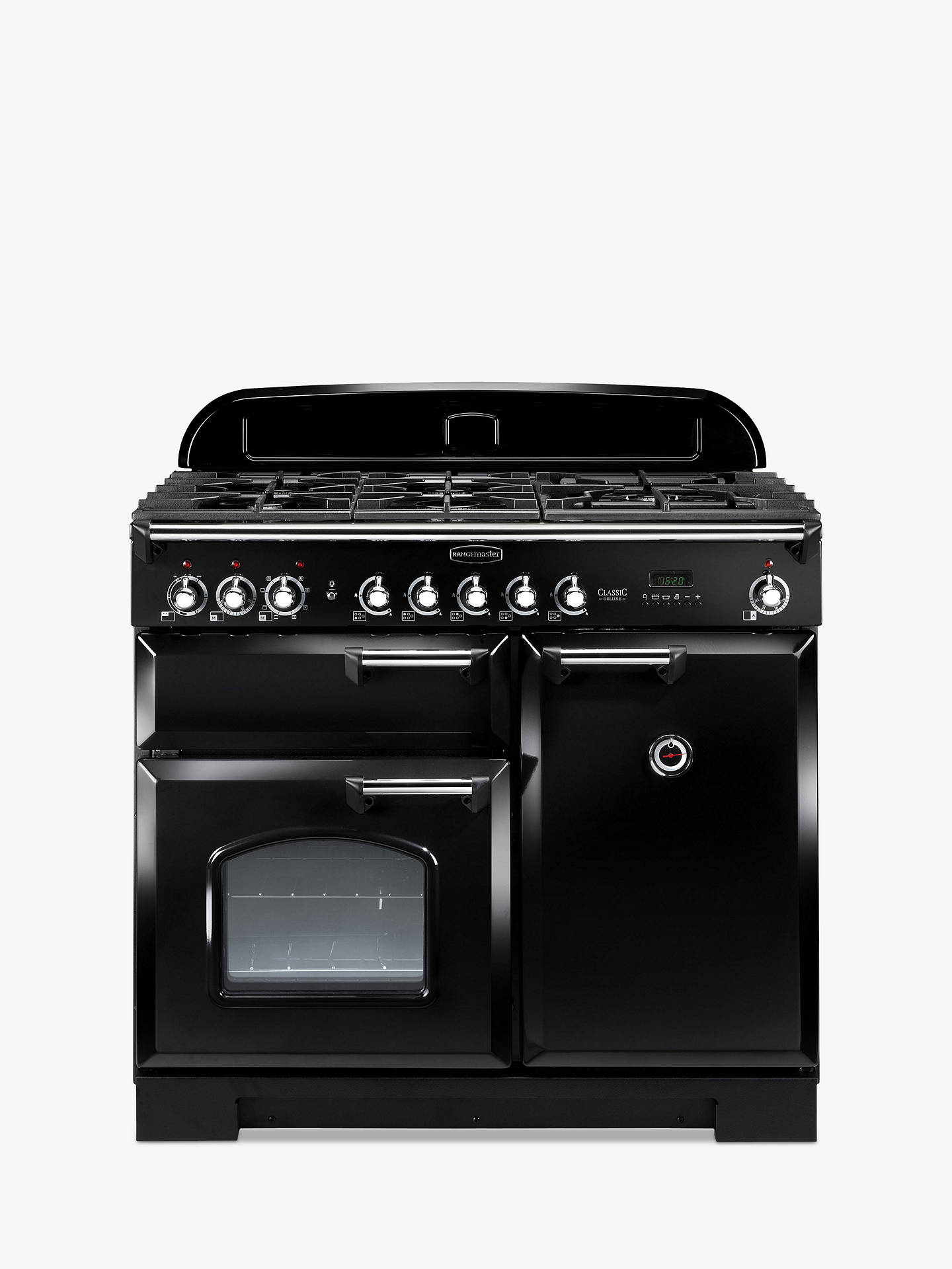 Buy Rangemaster Classic Deluxe 100 Dual Fuel Range Cooker, Black/Chrome Trim Online at johnlewis.com