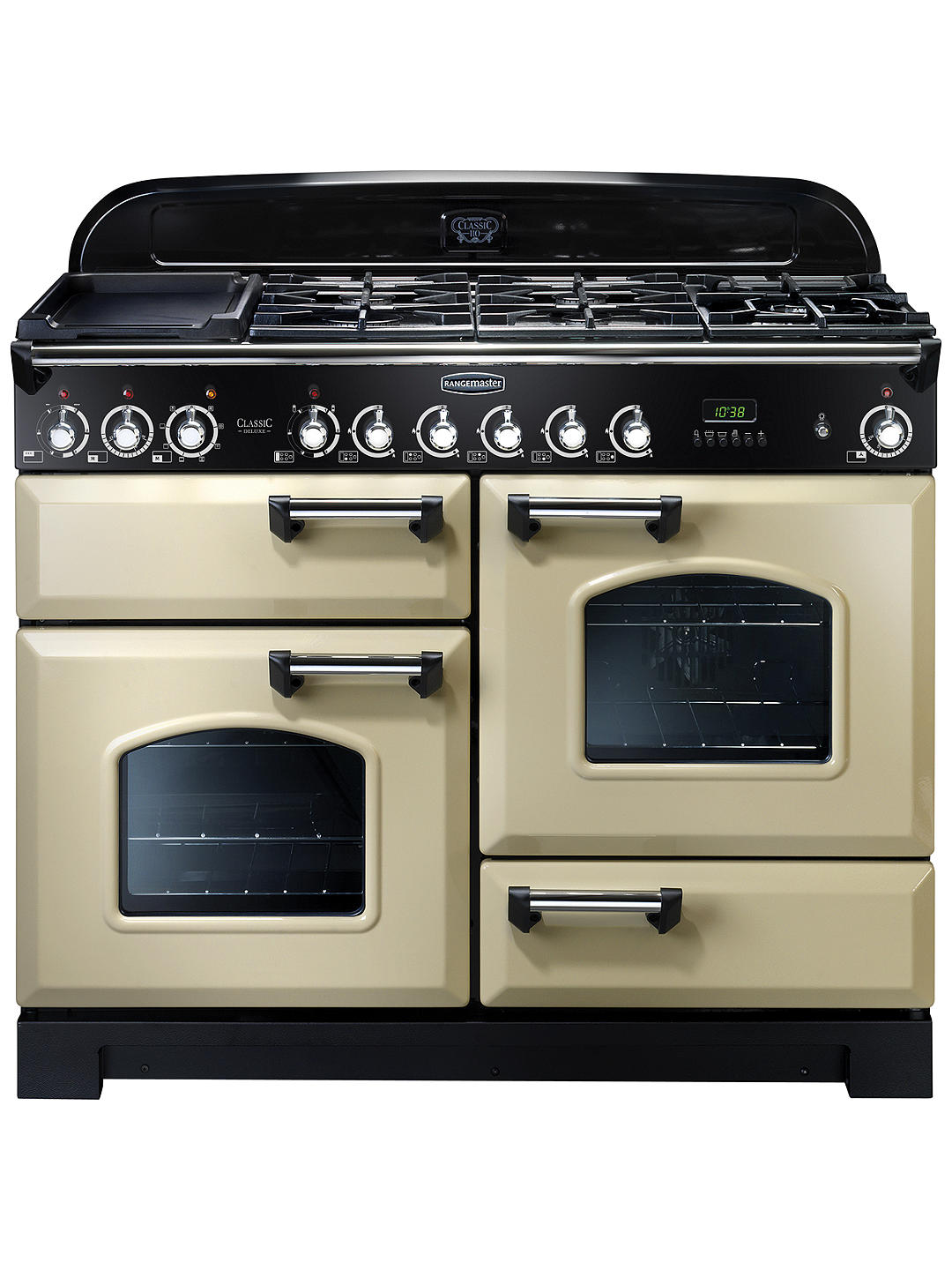 Buy Rangemaster Classic Deluxe 110 Dual Fuel Range Cooker, Cream/Chrome Trim Online at johnlewis.com