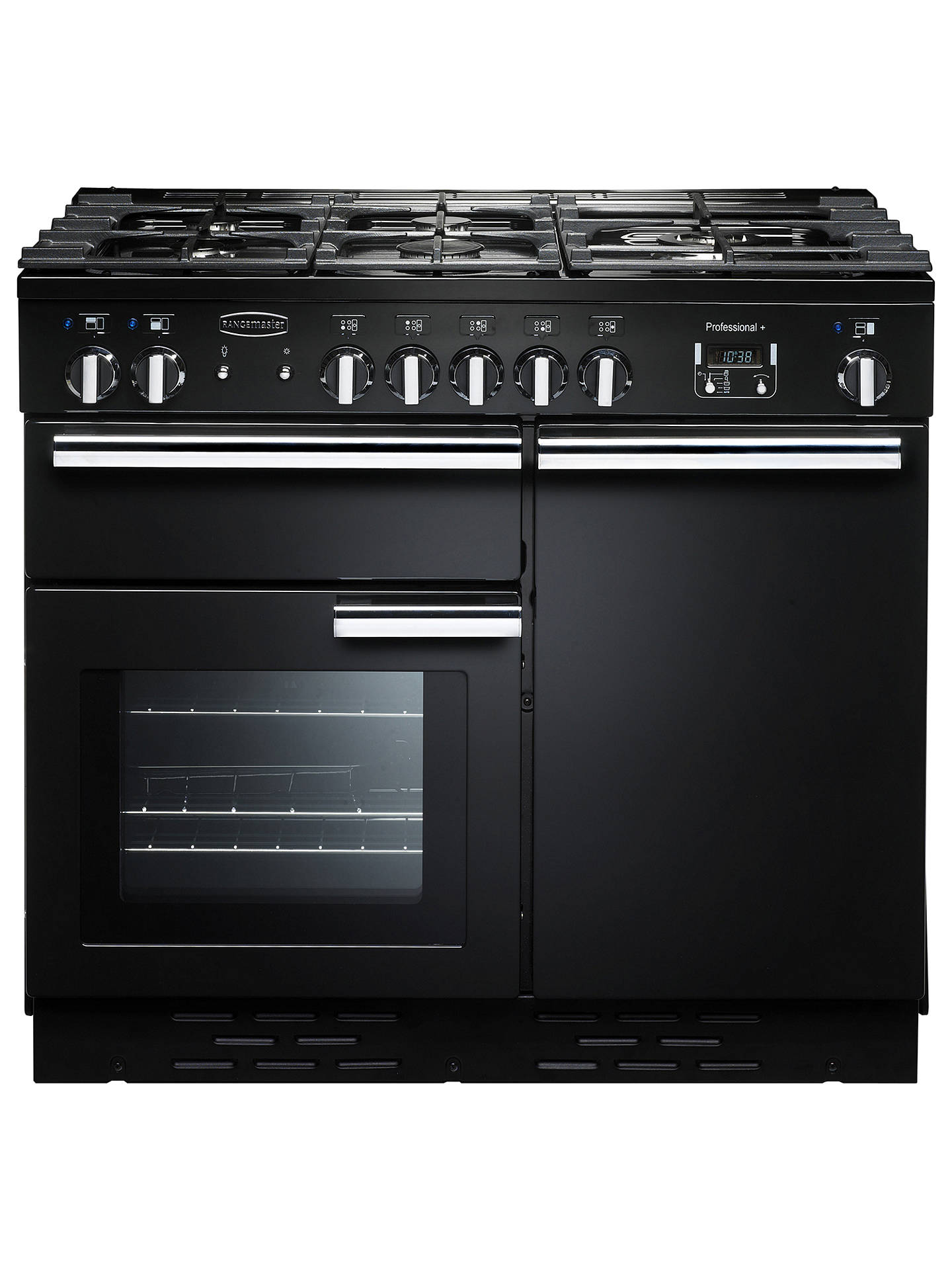 BuyRangemaster Professional + 100 Dual Fuel Range Cooker, Black/Chrome Trim Online at johnlewis.com