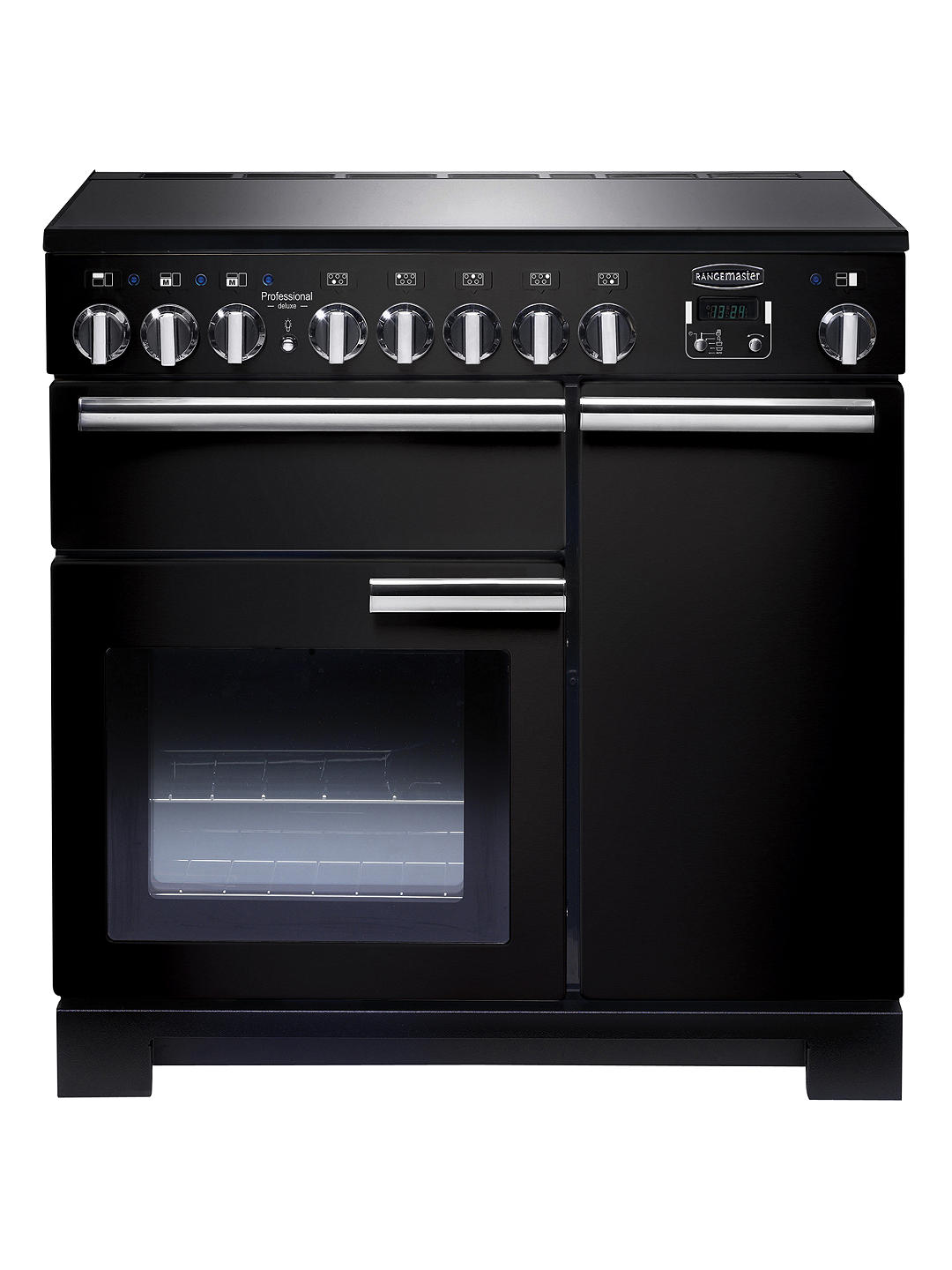 Buy Rangemaster Professional Deluxe 90 Induction Hob Range Cooker, Black/Chrome Trim Online at johnlewis.com