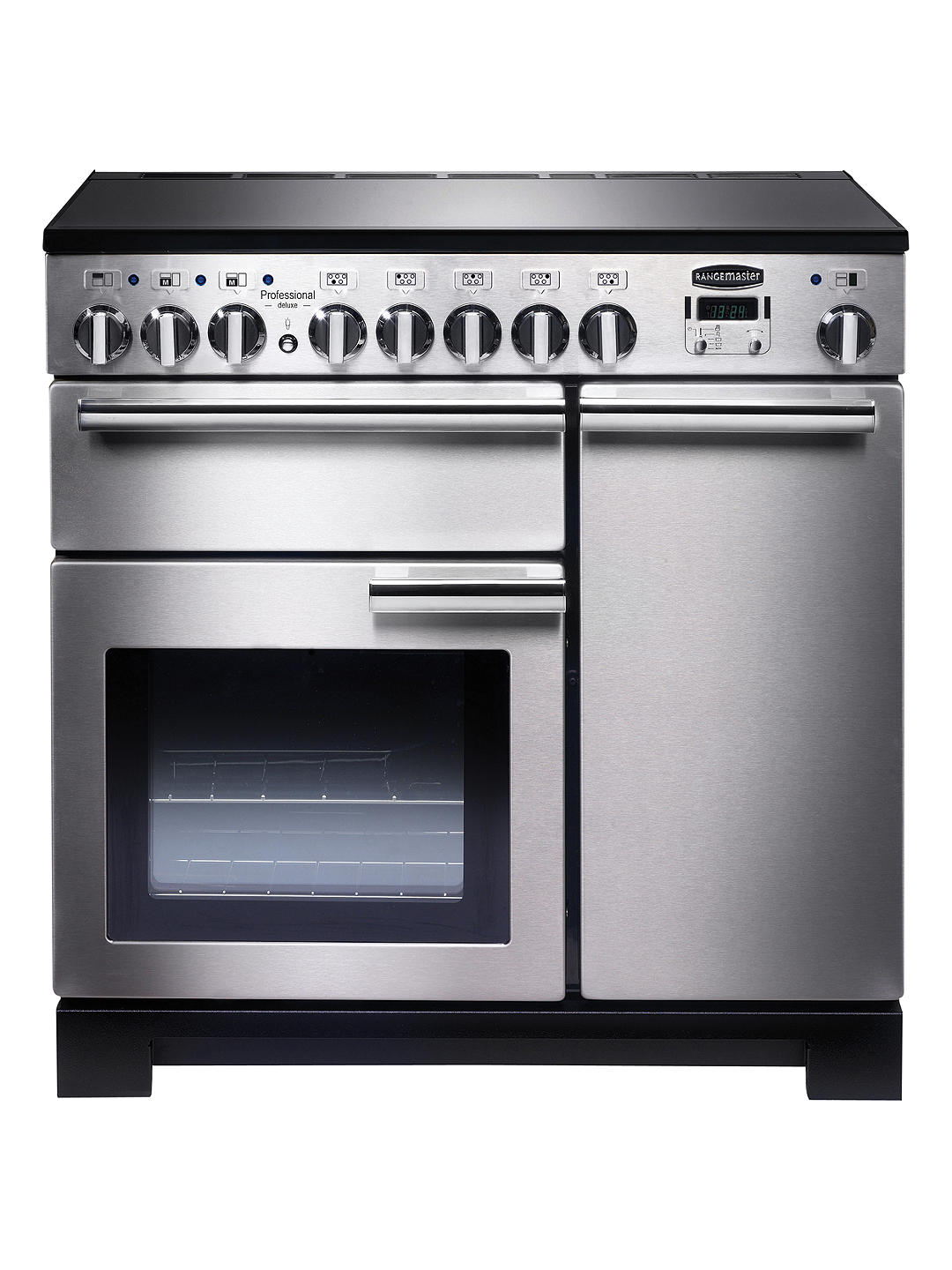 Buy Rangemaster Professional Deluxe 90 Induction Hob Range Cooker, Stainless Steel/Chrome Trim Online at johnlewis.com
