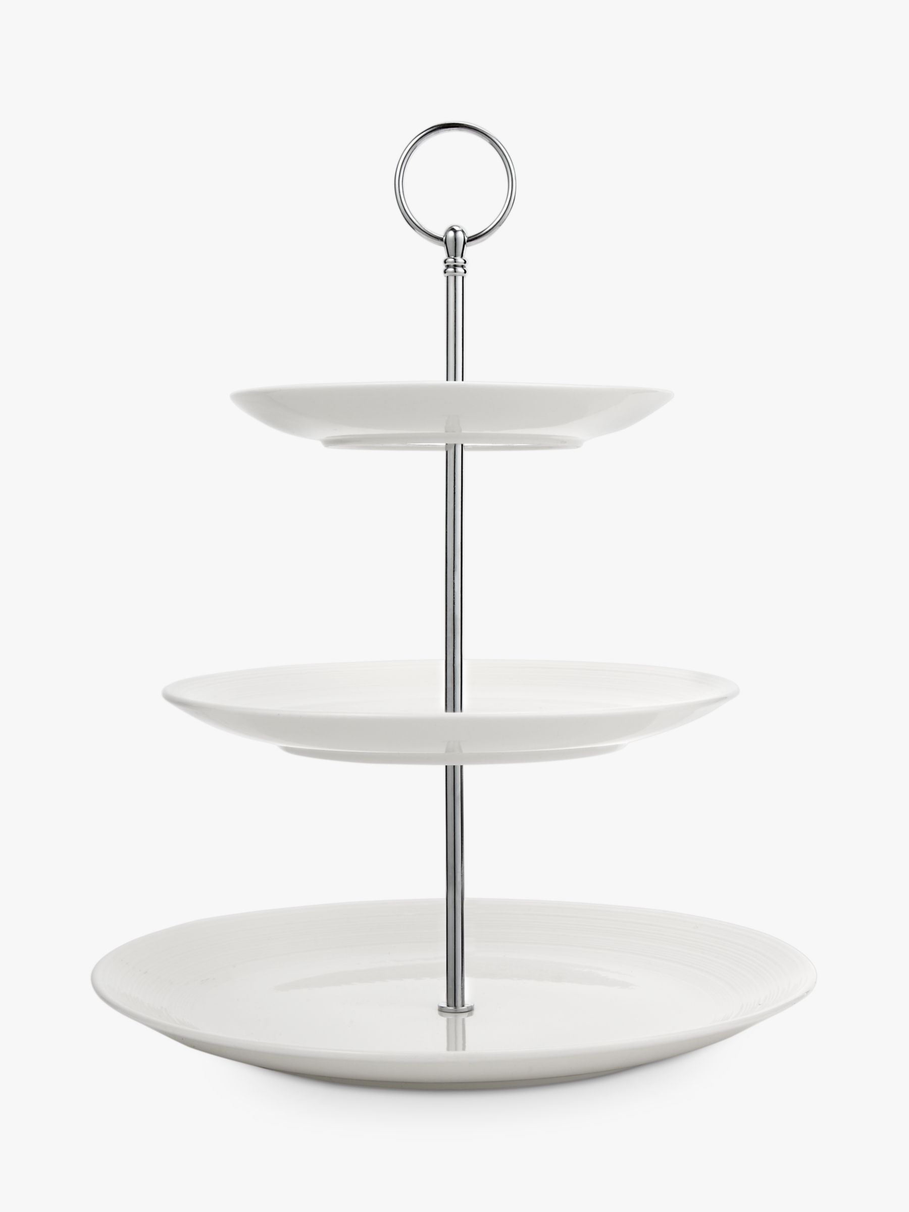 Croft Collection Luna Fine China 3 Tier Cake Stand, Natural