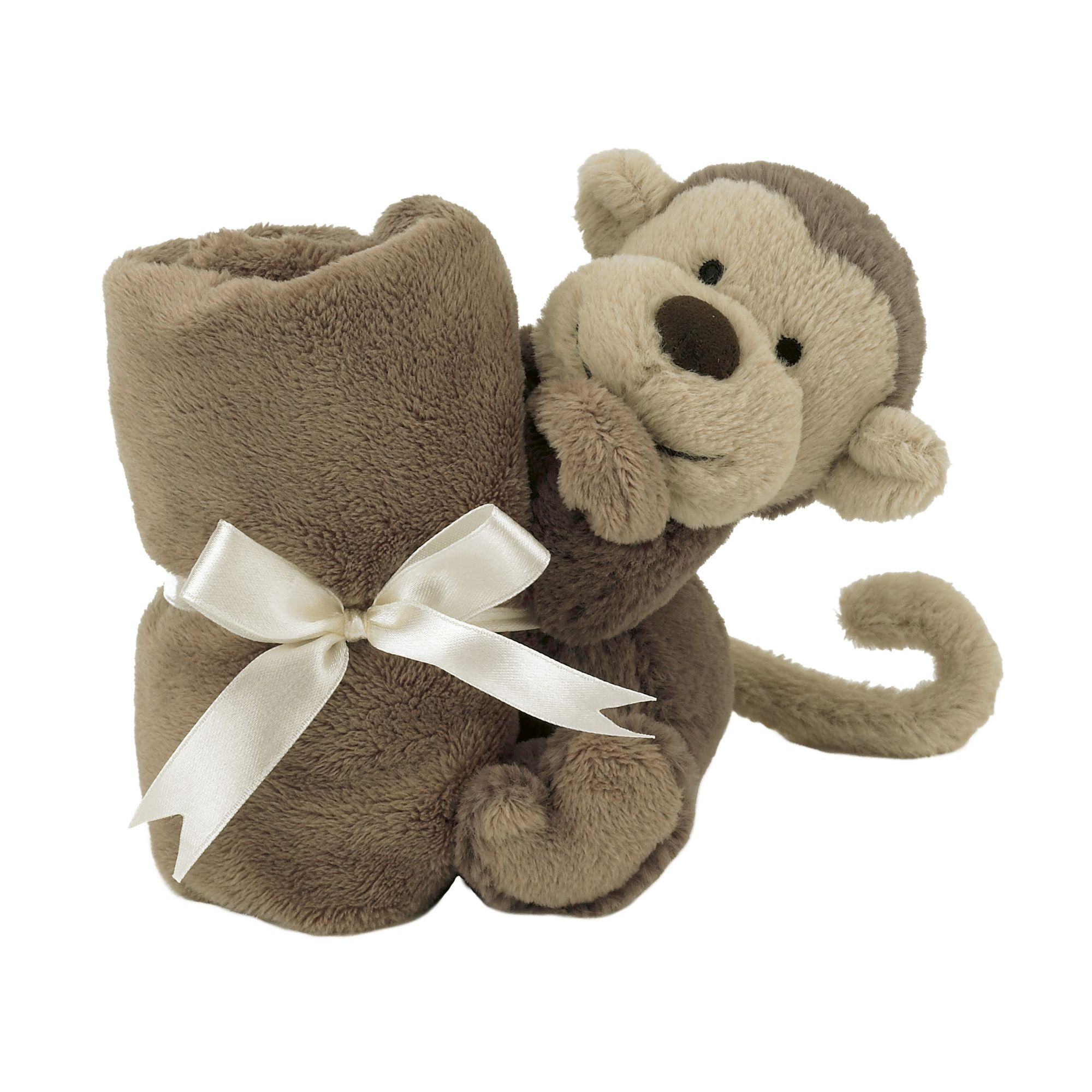 Jellycat Bashful Monkey Baby Soother Soft Toy, One Size, Brown