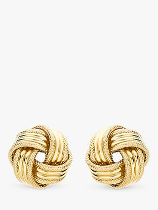 IBB 9ct Gold Knot Earrings, Gold