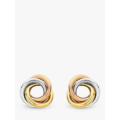 IBB 9ct Three Colour Gold Knot Stud Earrings, Multi