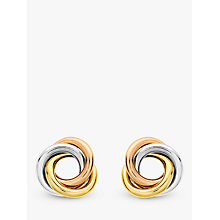 Buy IBB 9ct Three Colour Gold Knot Stud Earrings, Multi Online at johnlewis.com