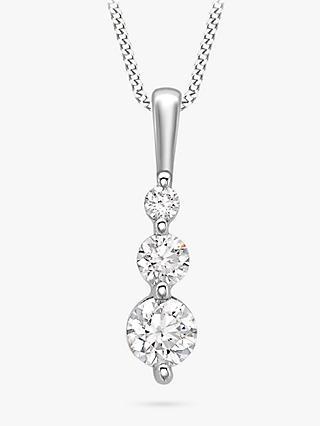 IBB 9ct White Gold Curb Chain Trilogy Pendant Necklace, White