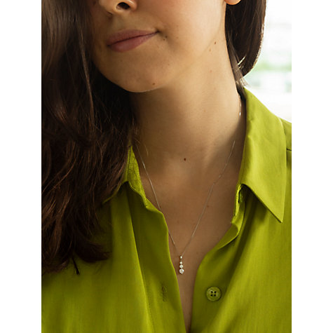 Buy IBB 9ct White Gold Curb Chain Trilogy Pendant Necklace, White Online at johnlewis.com