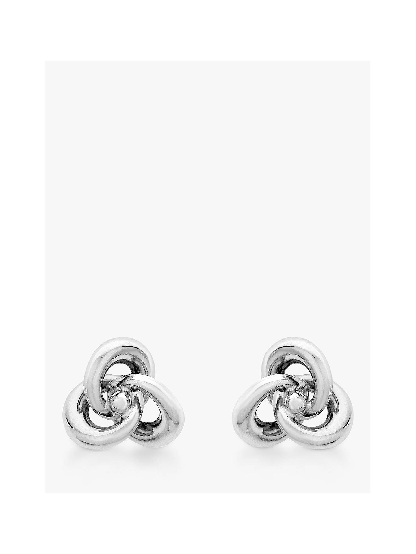 4bbbac3a8 Buy IBB 9ct White Gold Knot Stud Earrings, White Online at johnlewis.com ...