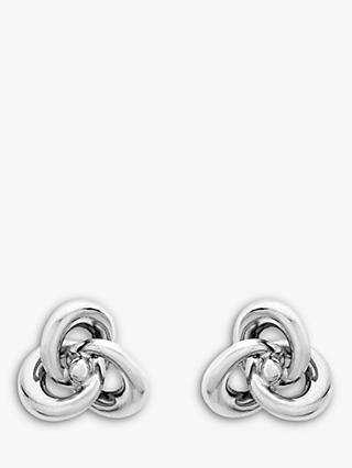 IBB 9ct White Gold Knot Stud Earrings, White
