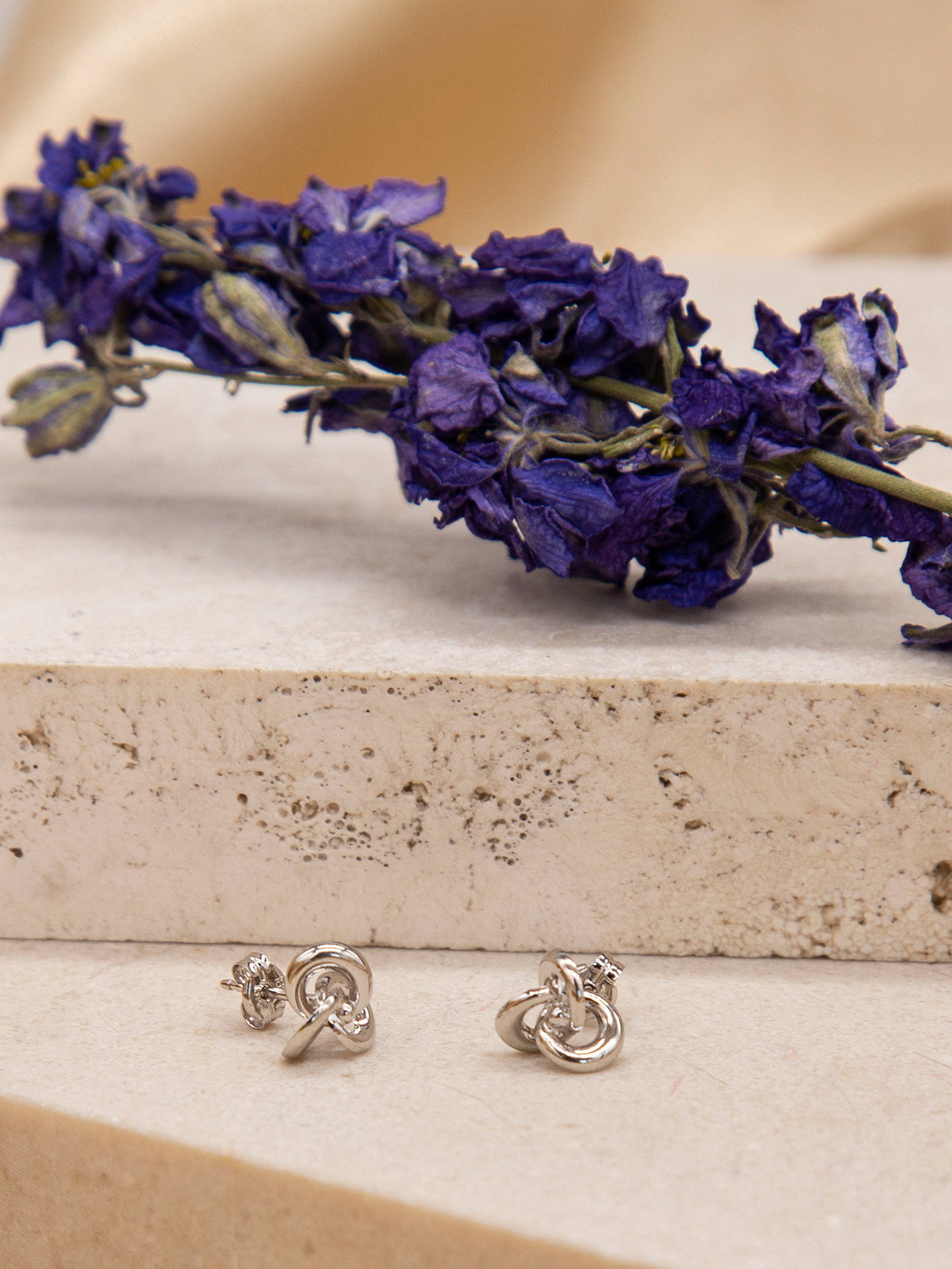 a6fbd0fee ... Buy IBB 9ct White Gold Knot Stud Earrings, White Online at  johnlewis.com ...