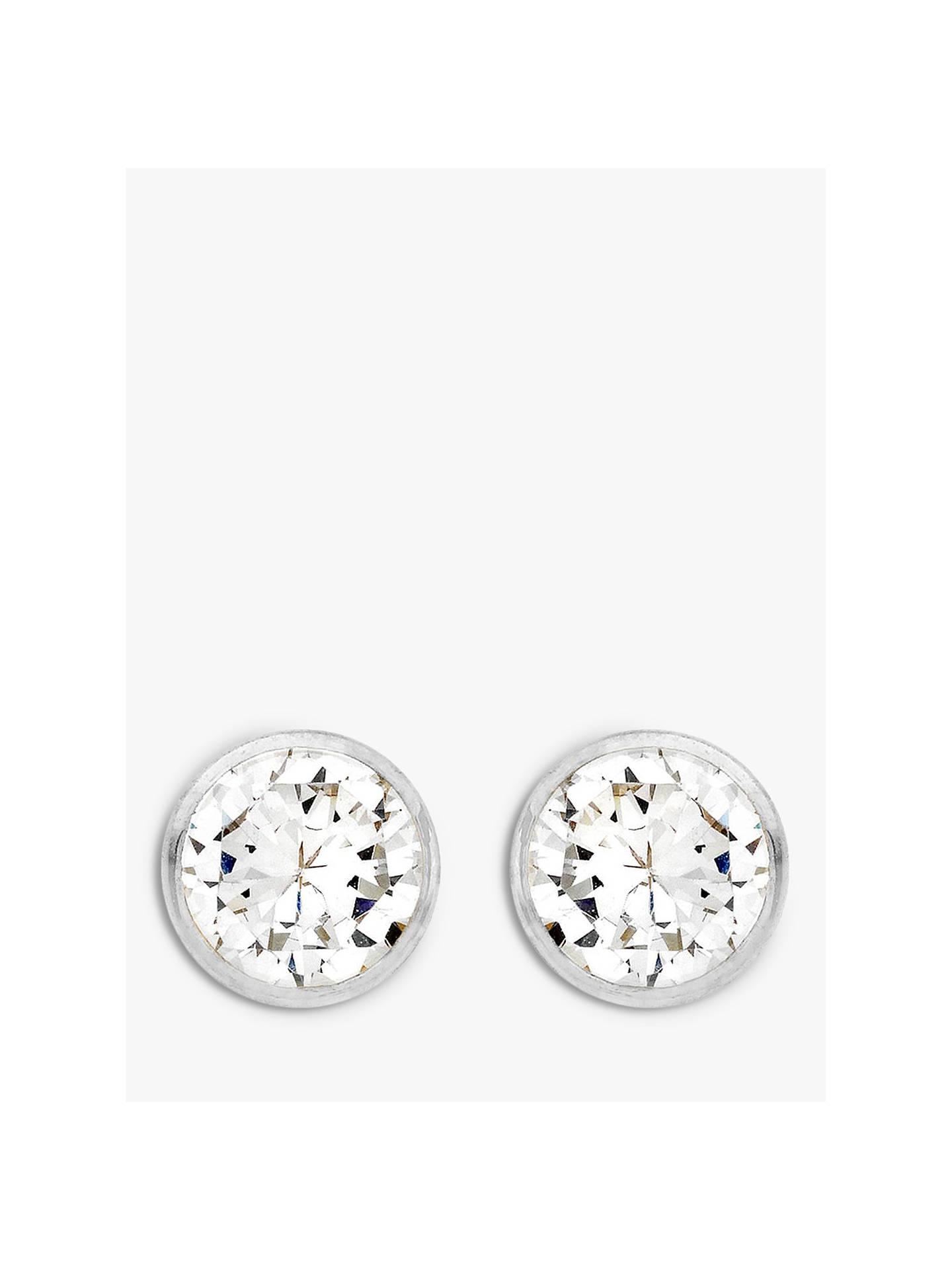 8674a2cde Buy IBB 9ct White Gold Round Cubic Zirconia Stud Earrings Online at  johnlewis.com ...