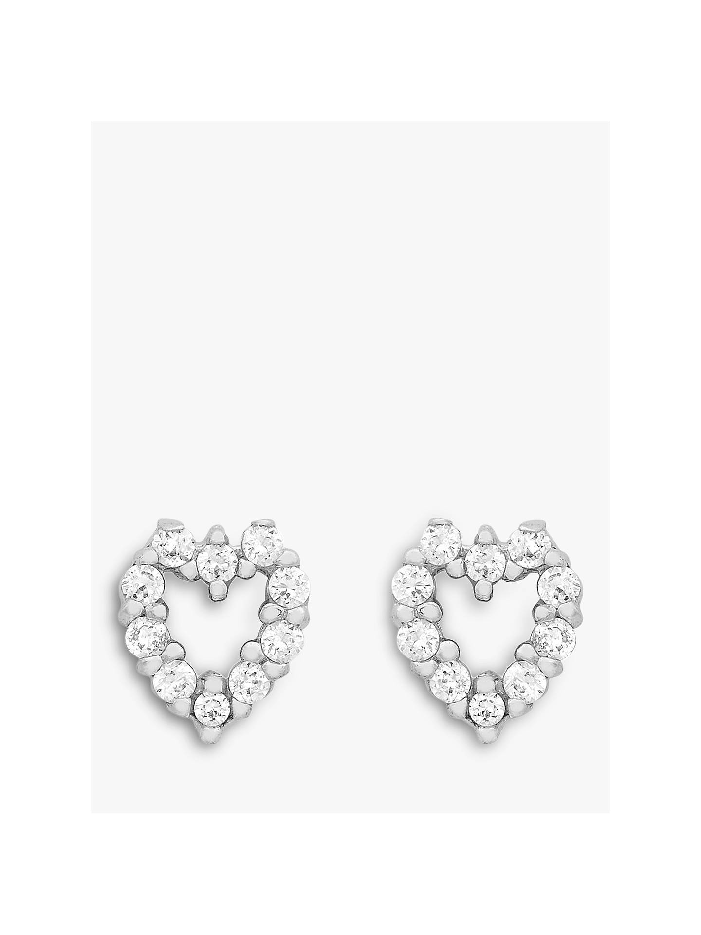7b7db11dd Buy IBB 9ct White Gold Small Heart Stud Earrings, White Gold Online at  johnlewis.