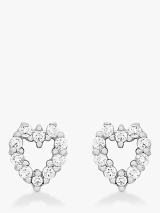 IBB 9ct White Gold Small Heart Stud Earrings, White Gold