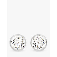 Buy IBB 9ct White Gold Small Rubover Cubic Zirconia Stud Earrings, White Gold Online at johnlewis.com