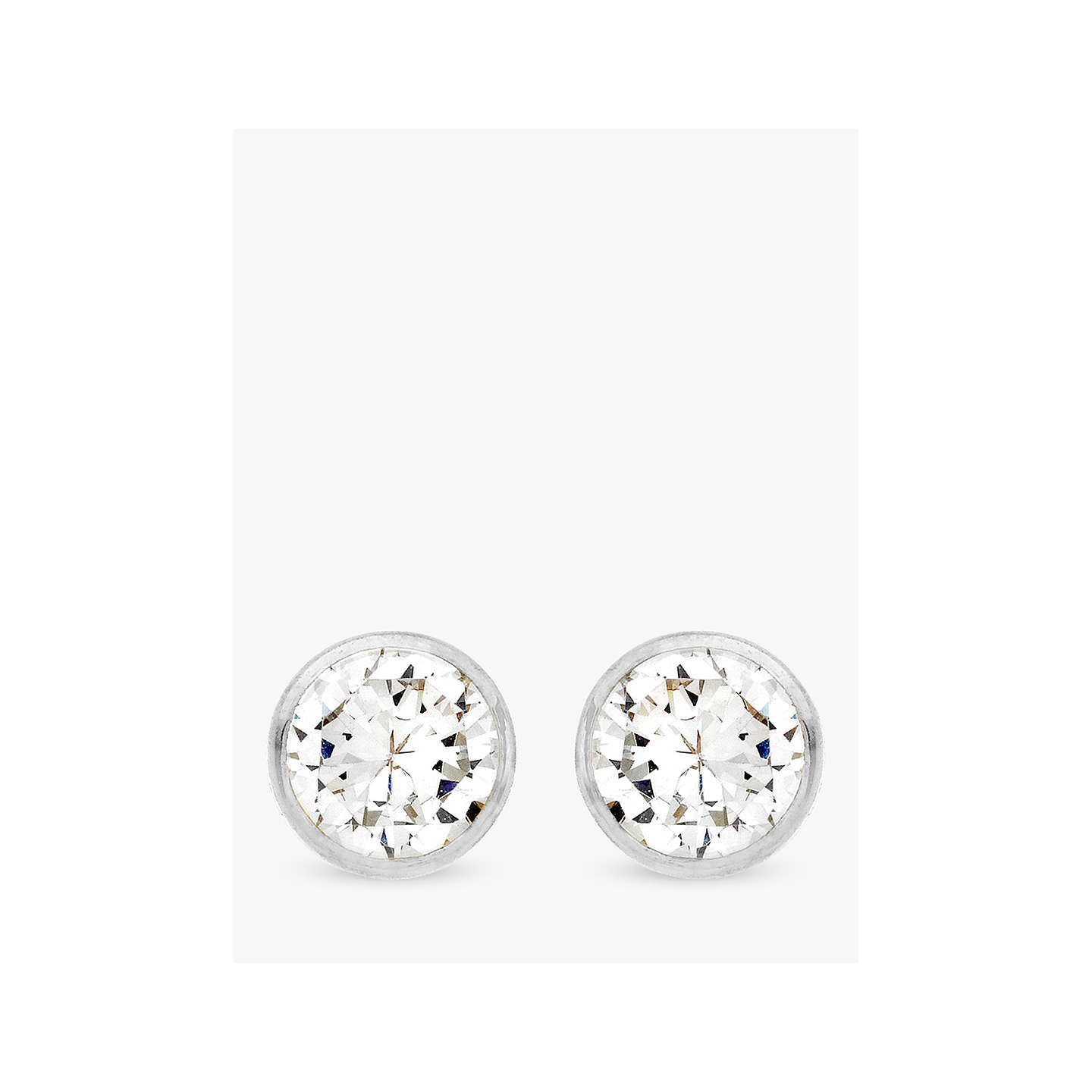 cubic stud white gold zirconia earrings