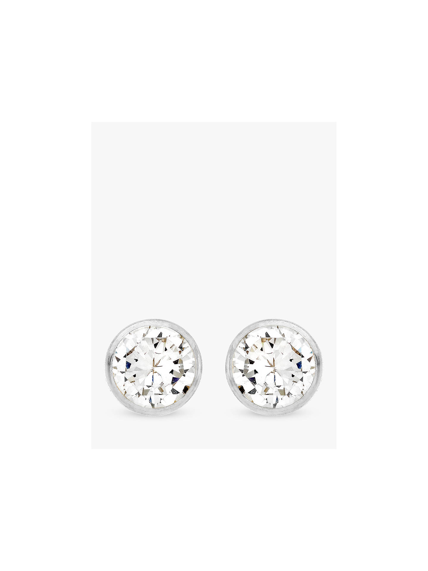 Ibb 9ct White Gold Small Rubover Cubic Zirconia Stud Earrings Online At Johnlewis