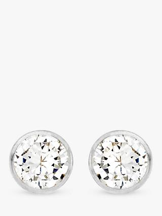 IBB 9ct White Gold Small Rubover Cubic Zirconia Stud Earrings, White Gold
