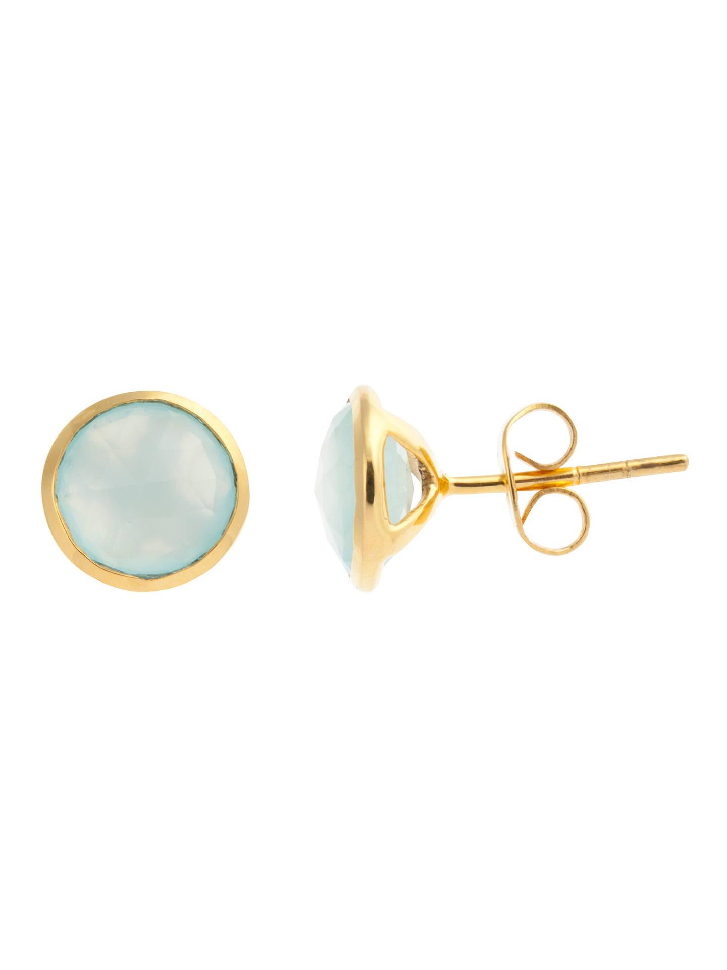 John Lewis Gemstones Chalcedony Circle Stud Earrings Aqua