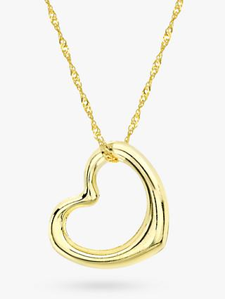 IBB 9ct Yellow Gold Twist Curb Chain Heart Pendant Necklace, Gold