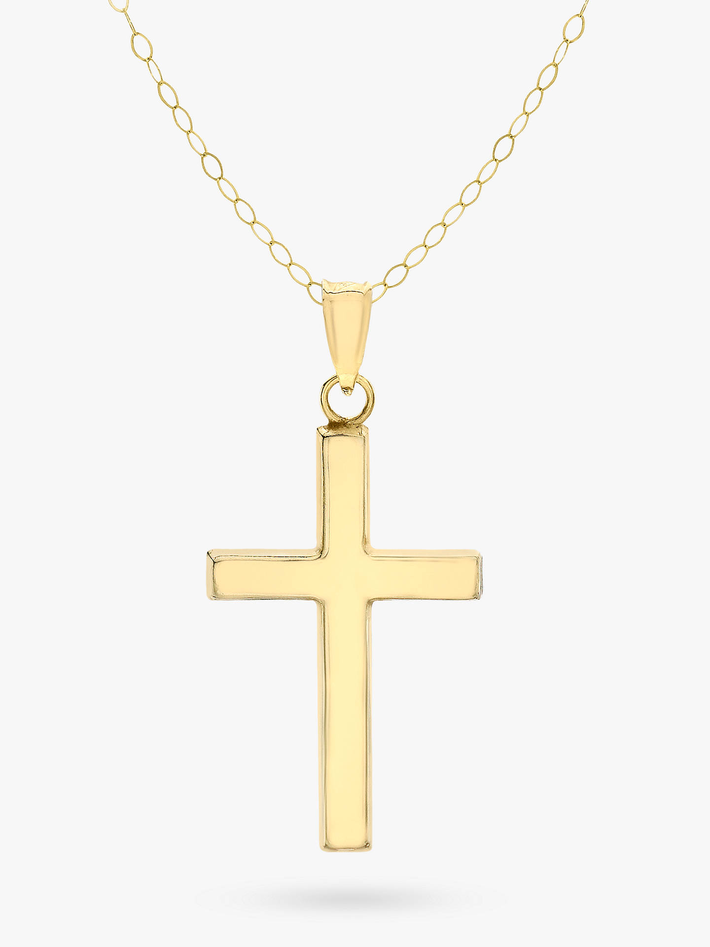 63613bfd424e24 Buy IBB 9ct Yellow Gold Cross Pendant Necklace, Gold Online at  johnlewis.com ...
