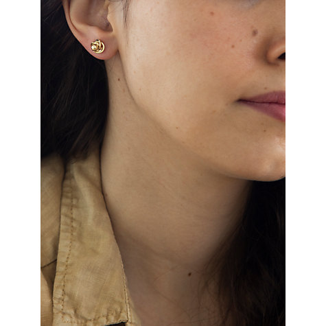 Buy IBB 9ct Yellow Gold Knot Stud Earrings, Yellow Gold Online at johnlewis.com