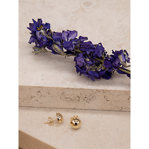 Buy IBB 9ct Yellow Gold Half Ball Stud Earrings, Yellow Gold Online at johnlewis.com