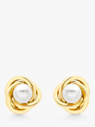 IBB 9ct Gold Cultured Pearl Knot Stud Earrings, Gold