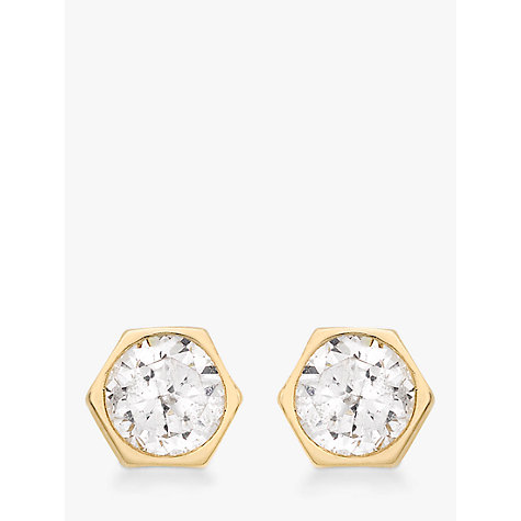 Buy IBB 9ct Gold Hexagonal Cubic Zirconia Stud Earrings, Gold Online at johnlewis.com
