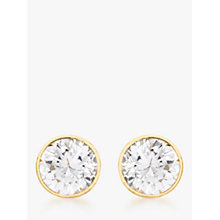 Buy IBB 9ct Gold Round Cubic Zirconia Stud Earrings, Gold Online at johnlewis.com