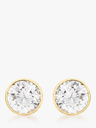IBB 9ct Gold Round Cubic Zirconia Stud Earrings, Gold
