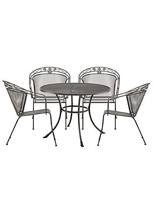 John Lewis & Partners Henley by KETTLER 4 Seater Round Garden Dining Set, Grey