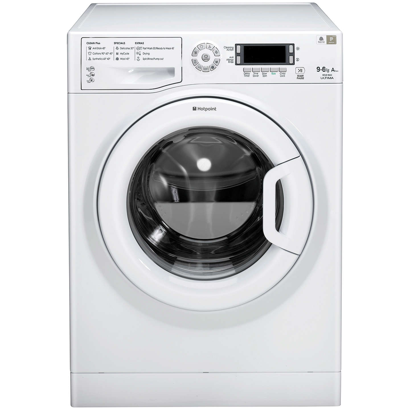 Buyhotpoint Wdud9640P Washer Dryer, 9Kg Wash6Kg Dry Load, A Energy