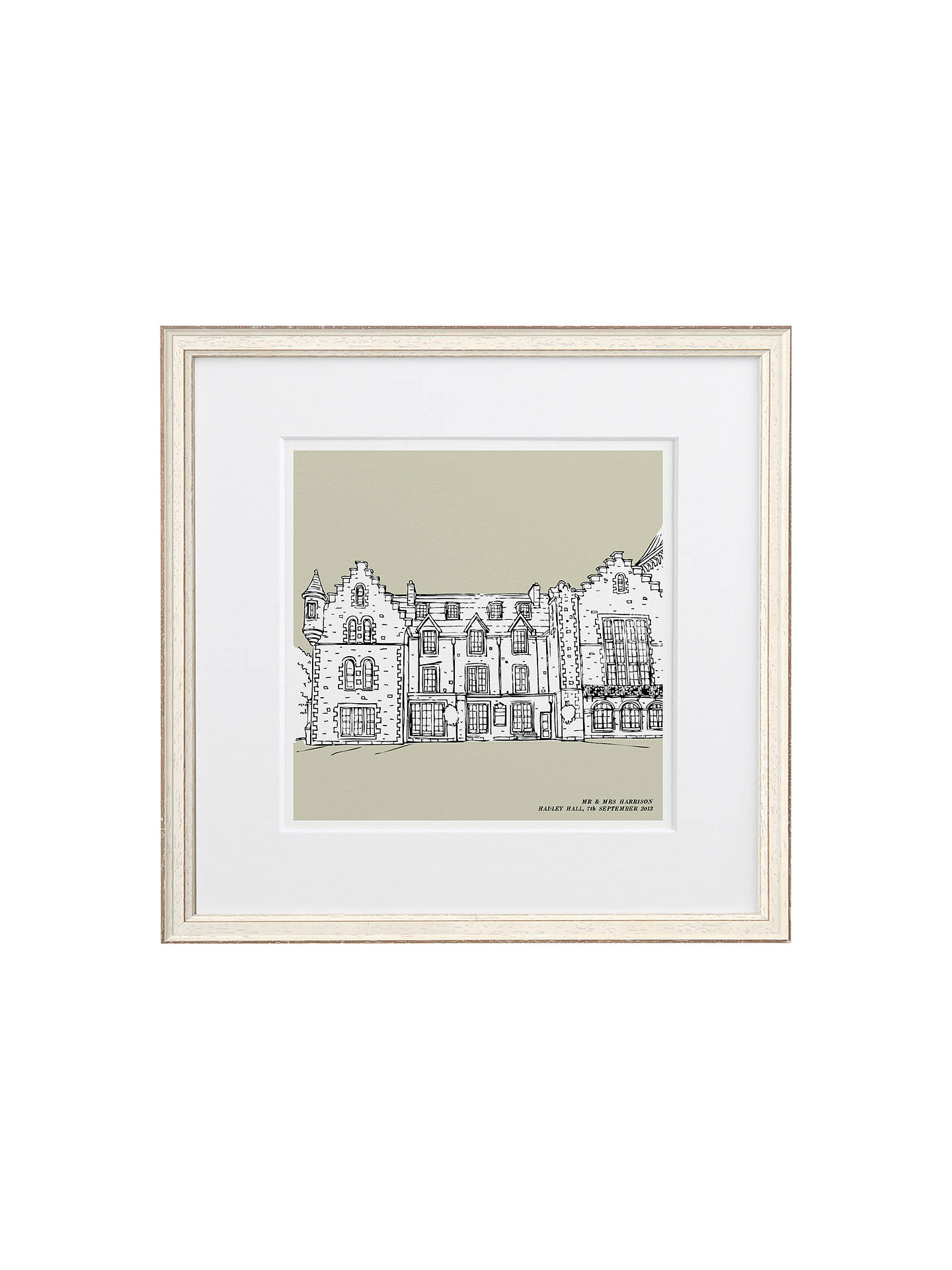 BuyLetterfest Personalised Wedding Illustration, Chalky White Frame, Green, 44.8 x 44.8cm Online at johnlewis.com