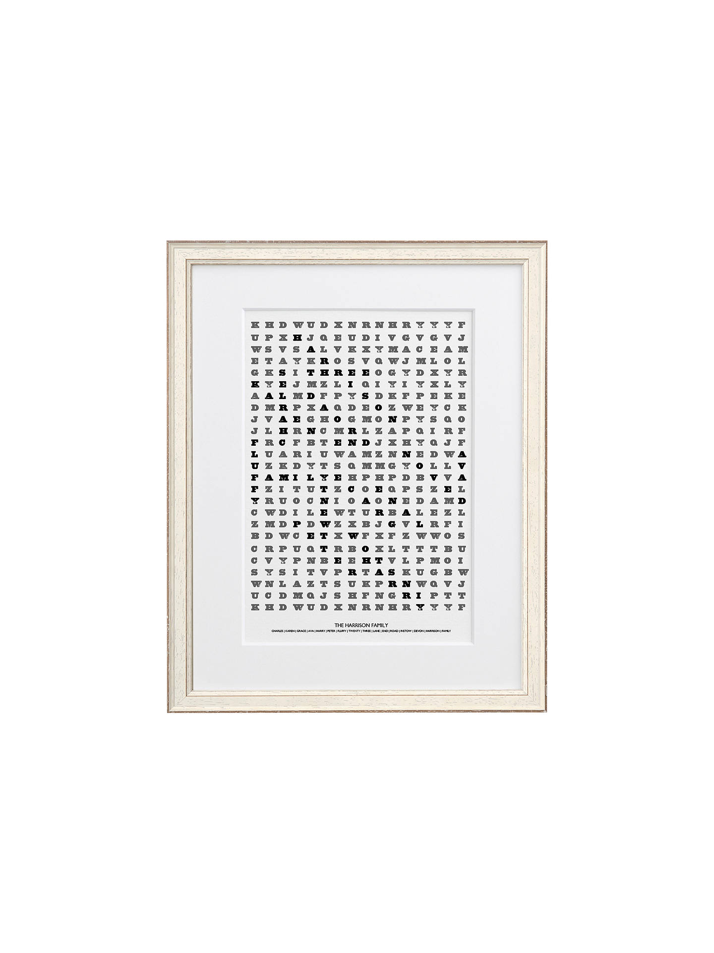 Letterfest Personalised Family Word Search Framed Print, 44 8 x 56 8cm,  White frame