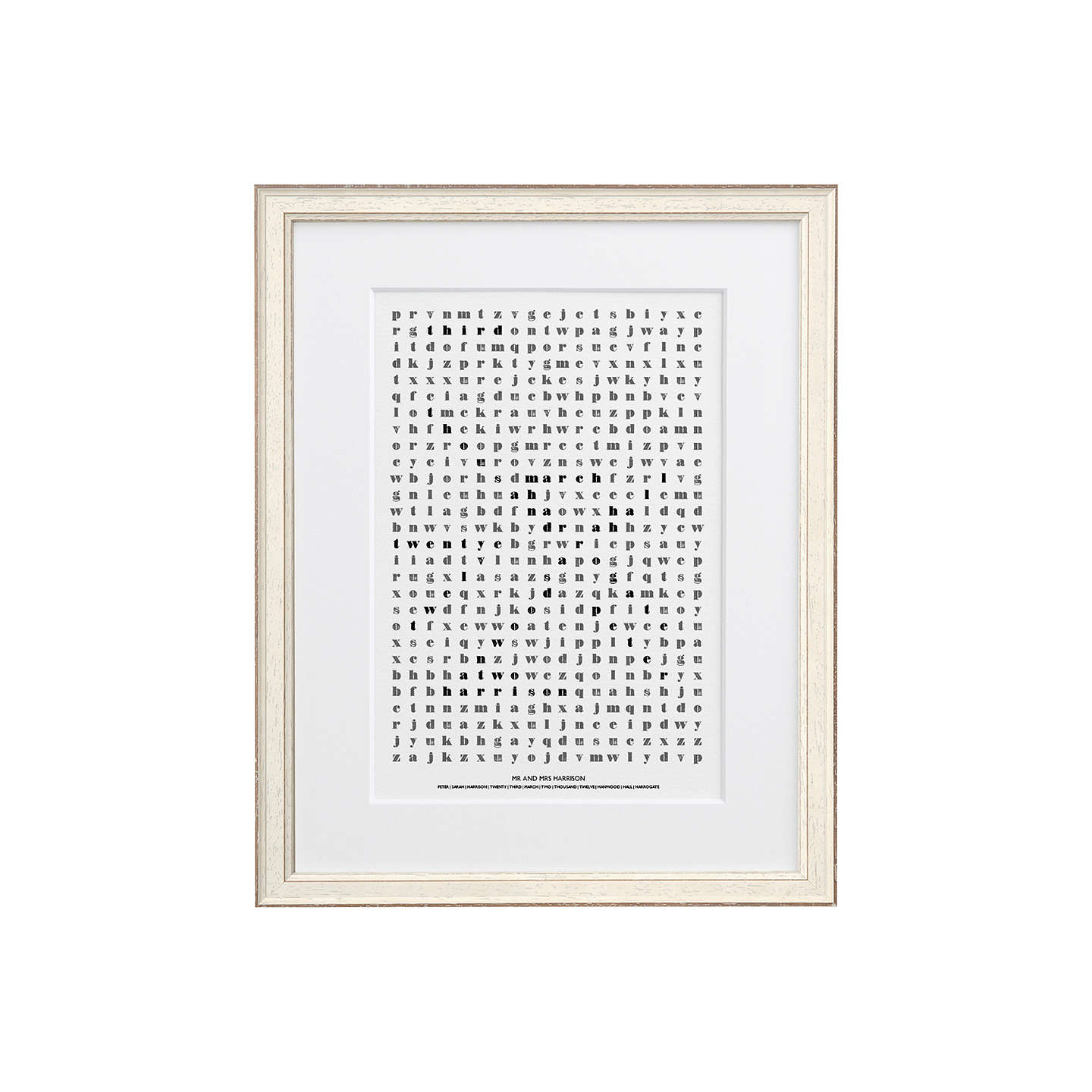 BuyLetterfest Personalised Wedding Word Search Framed Print, White Frame, 44.8 x 56.8cm Online at johnlewis.com