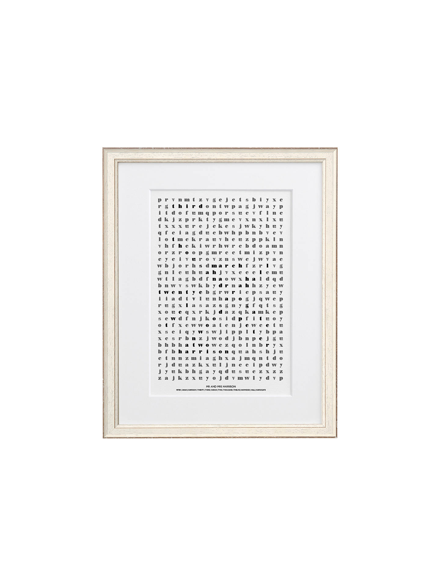 Letterfest Personalised Wedding Word Search Framed Print, 44.8 x ...