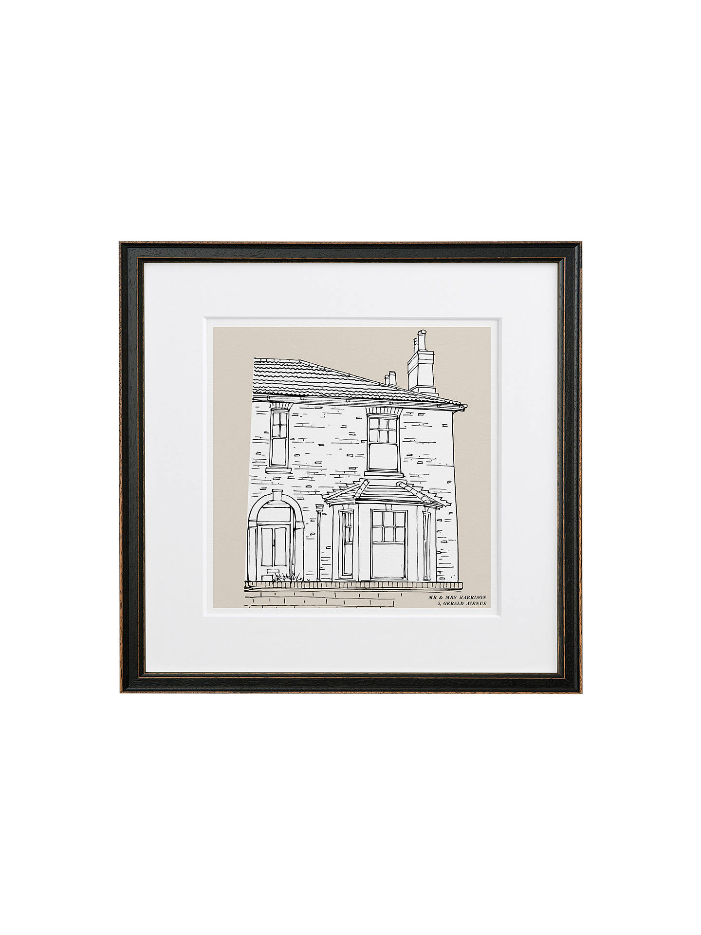BuyLetterfest Personalised House Illustration, Black Frame, Green, 44.8 x 44.8cm Online at johnlewis.com