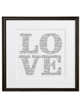 Buy Letterfest Personalised Typographic Love, Black Frame, 44.8 x 44.8cm Online at johnlewis.com