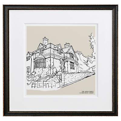 Letterfest Personalised House Illustration, Black Frame, 44.8 x 44.8cm