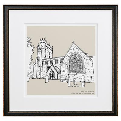 Letterfest Personalised Wedding Illustration, Black Frame, 44.8 x 44.8cm