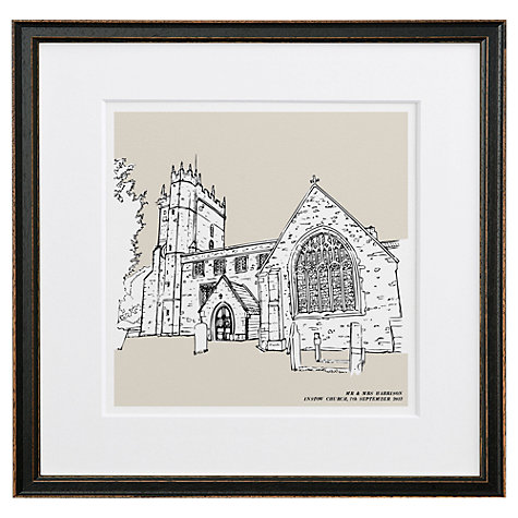 Buy Letterfest Personalised Wedding Illustration, Black Frame, 44.8 x 44.8cm Online at johnlewis.com