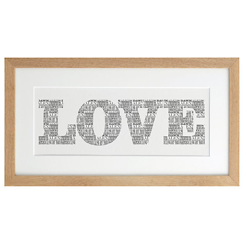Buy Letterfest Personalised Love Art Print, 24 x 45cm Online at johnlewis.com