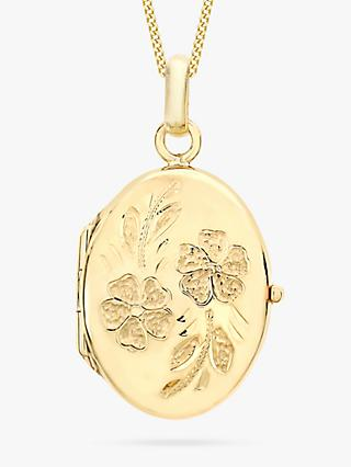 IBB 9ct Yellow Gold Daisy Oval Locket Pendant Necklace, Gold