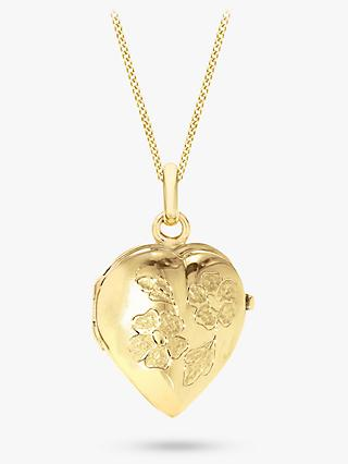 IBB 9ct Yellow Gold Heart Daisy Locket Curb Chain Necklace, Gold