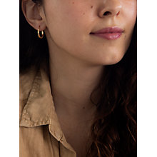 Buy IBB 9ct Yellow Gold Creole Leverback Hoop Earrings, Gold Online at johnlewis.com
