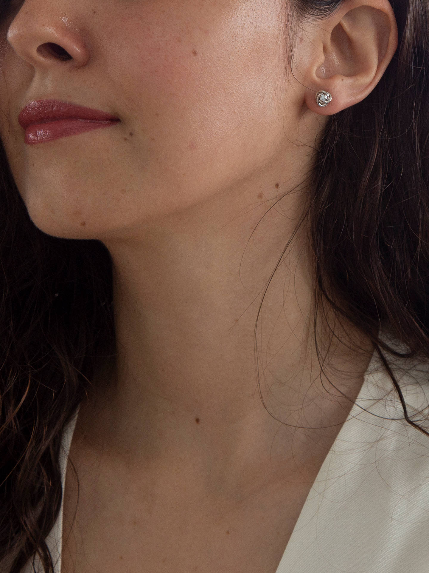 Ibb 9ct White Gold Cubic Zirconia Knot Stud Earrings Online At Johnlewis