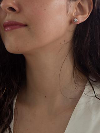 IBB 9ct White Gold Cubic Zirconia Knot Stud Earrings, White Gold