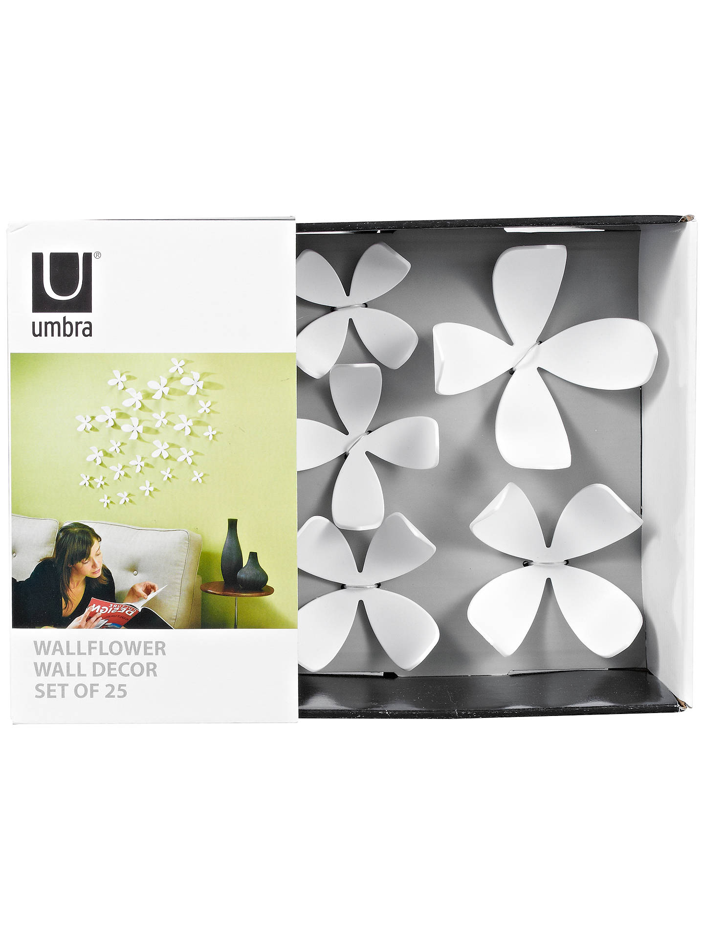 Buy Umbra Wallflower Wall Decor, White, Set of 25 Online at johnlewis.com