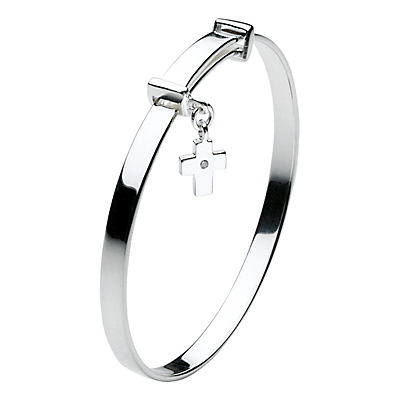 Kit Heath Girls Dinky Cross Sterling Silver Expanding Bangle Silver